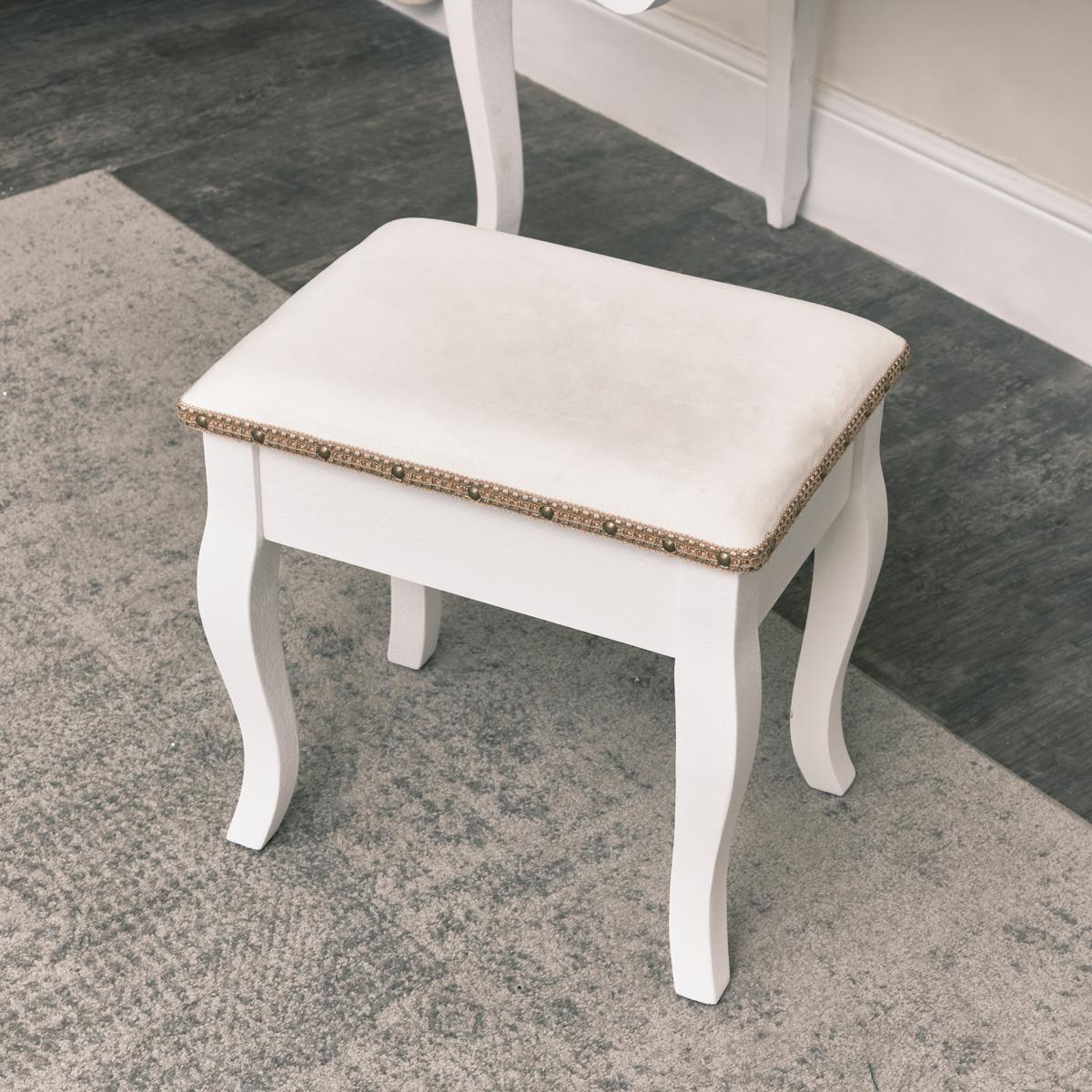 Antique White Padded Dressing Table Stool - Pays Blanc Range