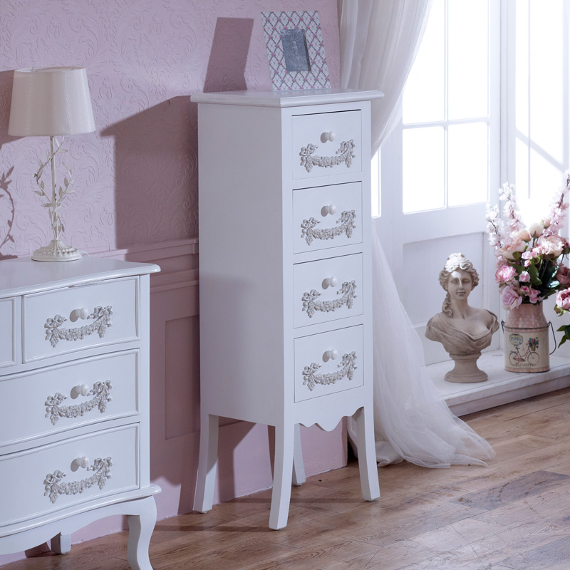 Antique White Tallboy Chest of Drawers - Pays Blanc Range