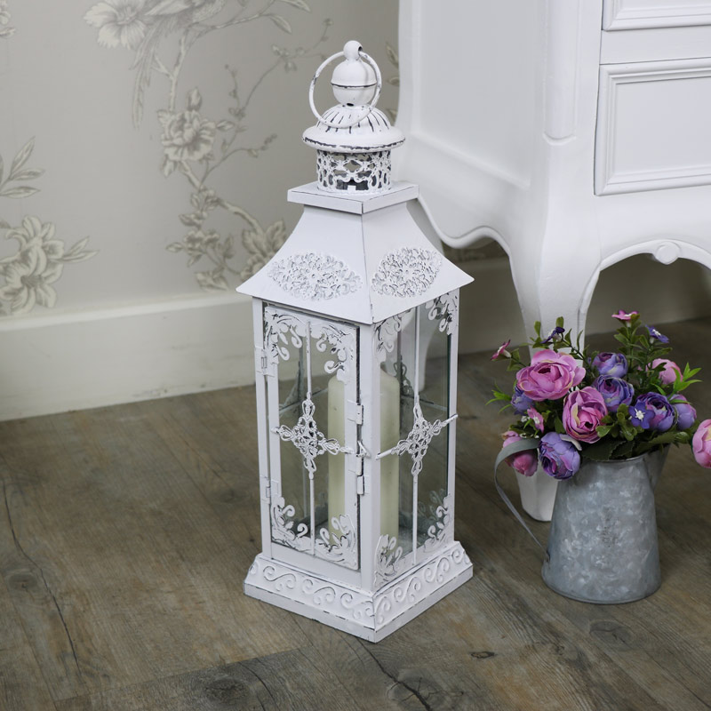 Antique White Vintage Metal Candle Lantern Melody Maison 174
