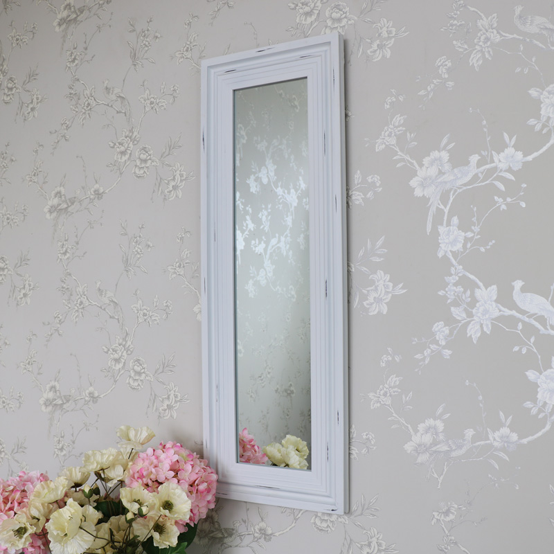 Antique White Washed Slim Wall Mirror 100cm x 35cm