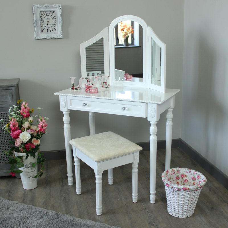 Arabella range cream dressing table with triple mirror for Range dressing table