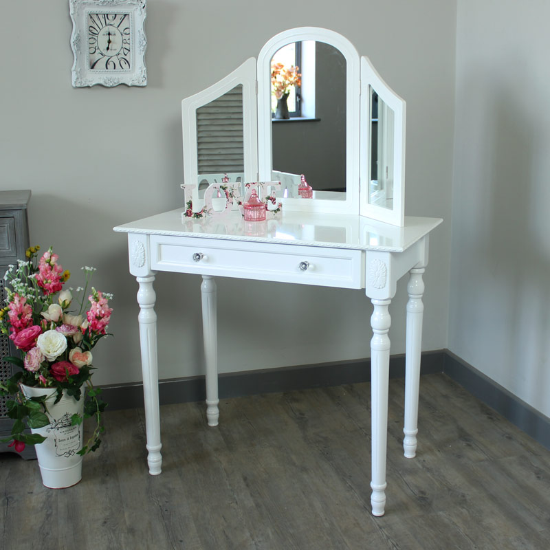 Arabella range ivory dressing table with triple mirror for Range dressing table