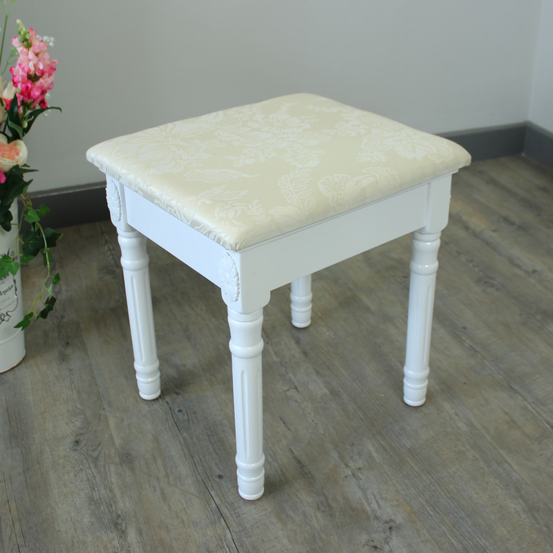 Arabella Range - White Padded Dressing Table Stool
