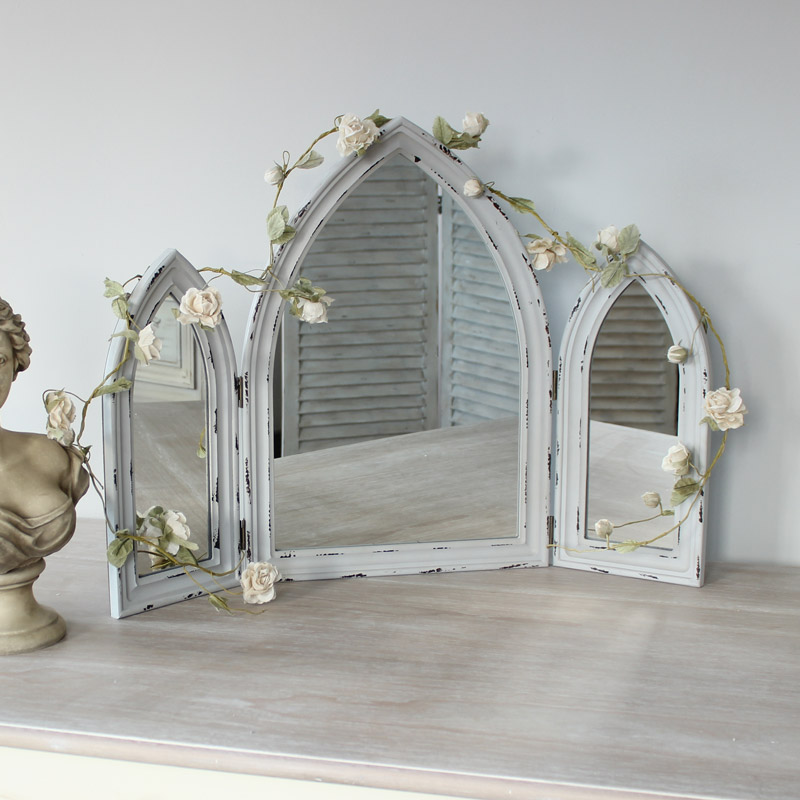 Grey Distressed Arched Triple Mirror