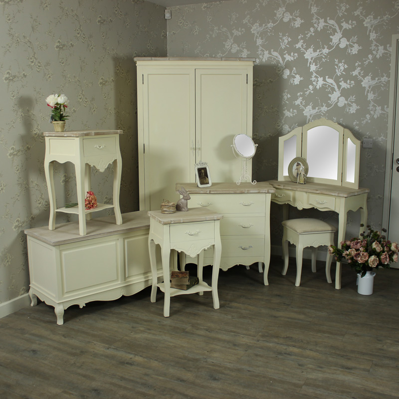 details about cream bedroom furniture dressing table set bedside chest