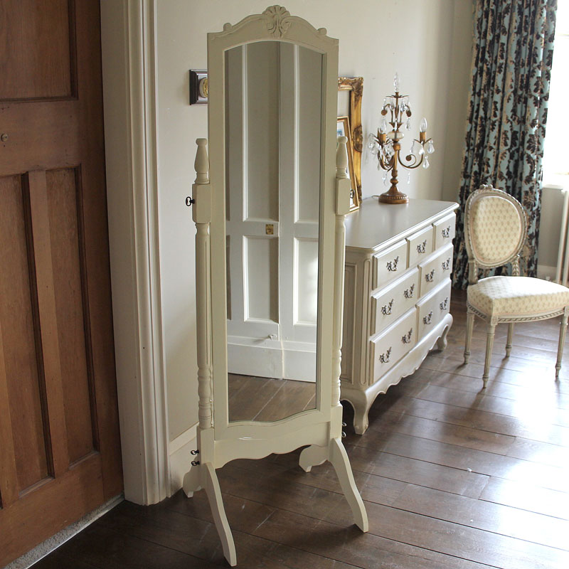 Cream Cheval Full Length Mirror - Belfort Range 163cm x 42cm