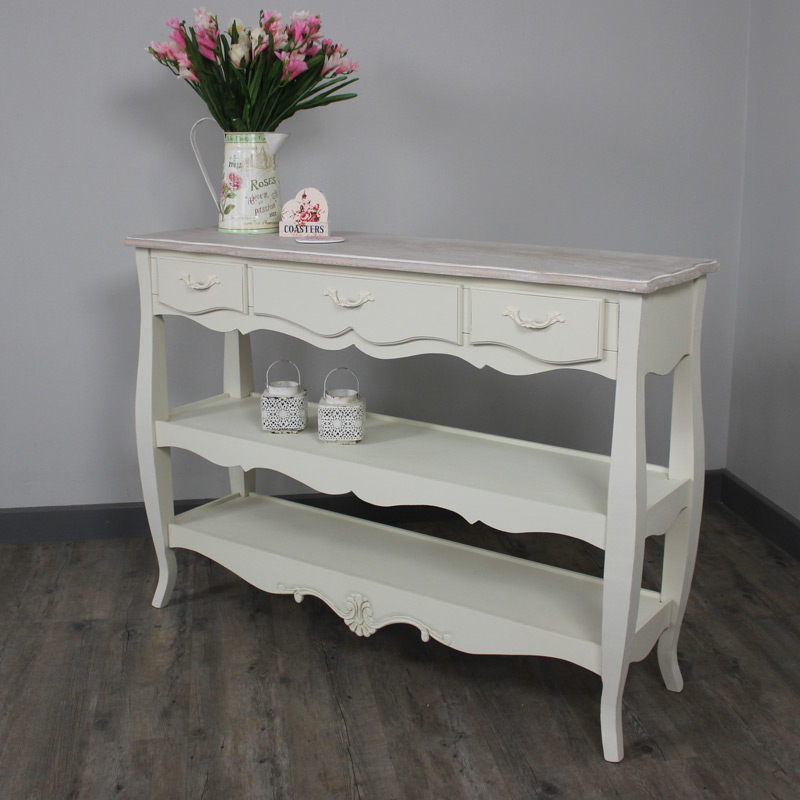 Cream Console Table with Three Drawers and Shelves - Belfort Range