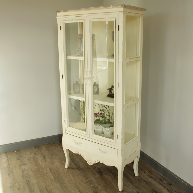 Tall Ornate Cream Glazed Display Cabinet - Belfort Range