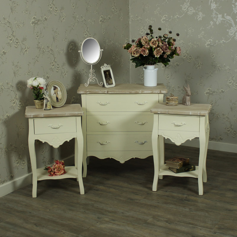 Cream Pair Of Bedside Tables 5 Drawer Chest Of Drawers Bedroom Furniture Set Belfort Range