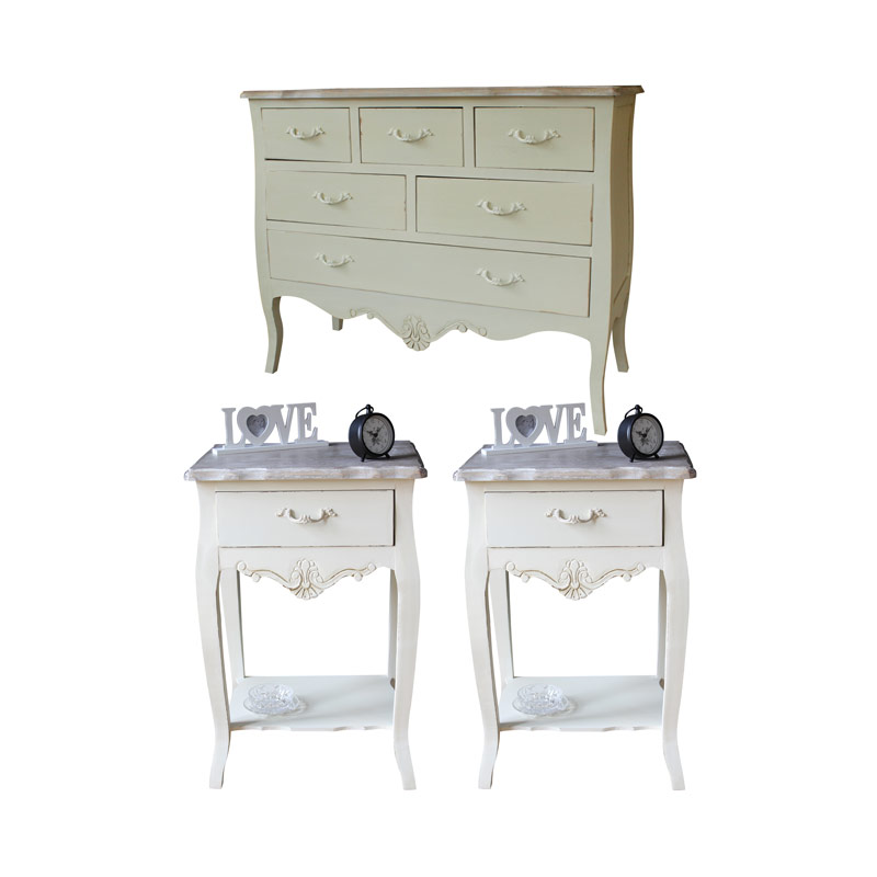 Cream Country Cottage Bedroom Home Furniture Set Shabby Vintage Chic Chest Ta
