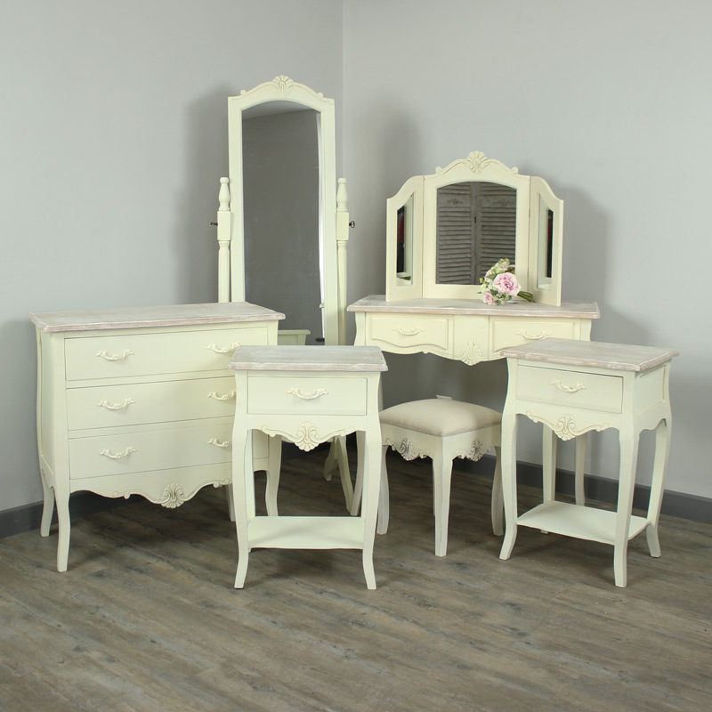 Belfort Range - Furniture Bundle, Chest of Drawers, Full Length Cheval Mirror, 2 Bedside Cabinets, Dressing Table, Stool & Triple Mirror