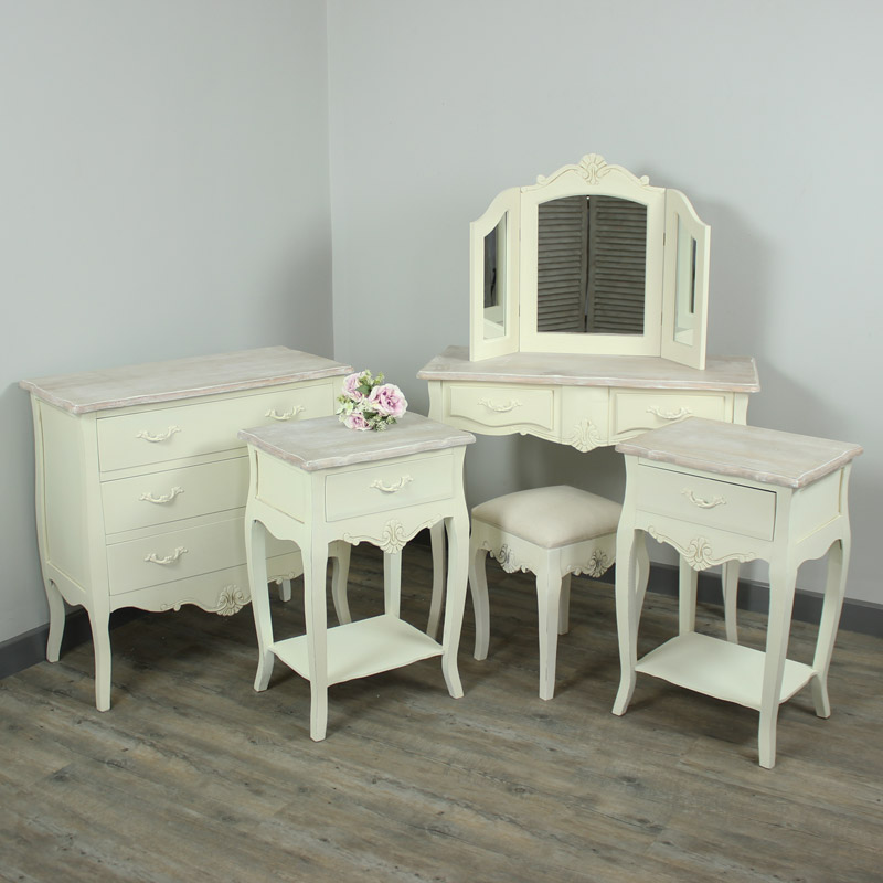 Belfort Range Furniture Bundle Cream Chest Of Drawers Dressing Table Mirror Stool And 2