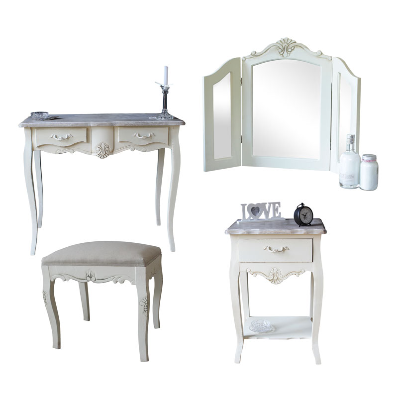 Cream Wooden Bedroom Set Dressing Table Mirror Stool Bedside Shabby French Ch