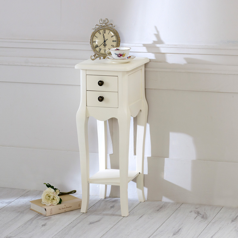 Slim Cream 2 Drawer Bedside Table - Belgravia Range