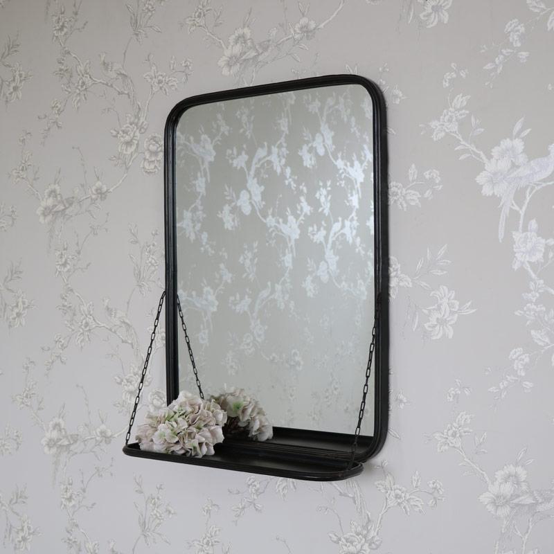 Black Metal Industrial Vanity Wall Mirror With Shelf