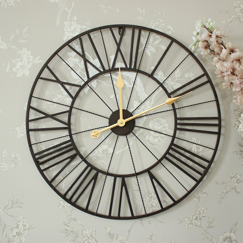 Large Brown Metal Skeleton Wall Clock