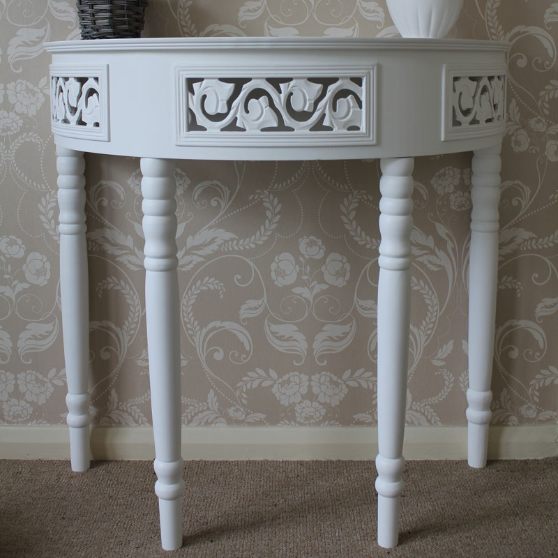 Blanche Range - White Half Moon Console Table