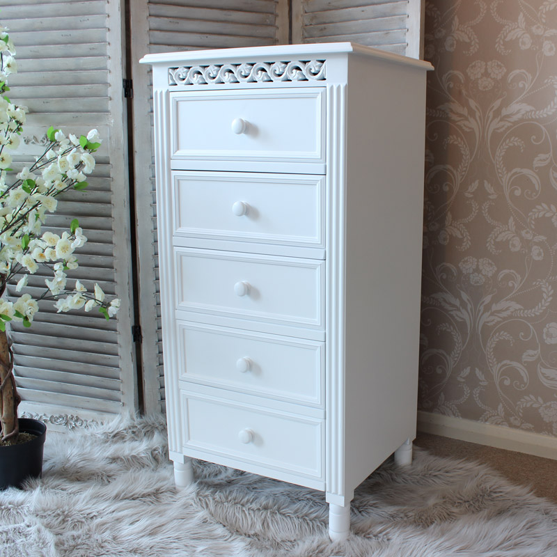 White five drawer Chest - Blanche Range