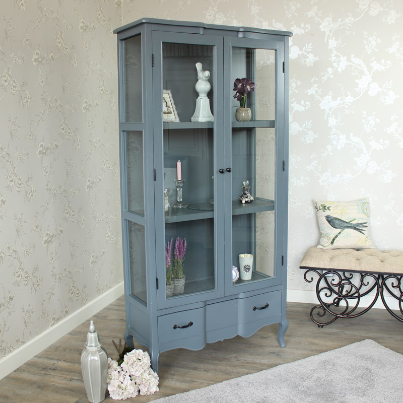Boudoir Grey Range - Tall Display Cabinet with Drawer