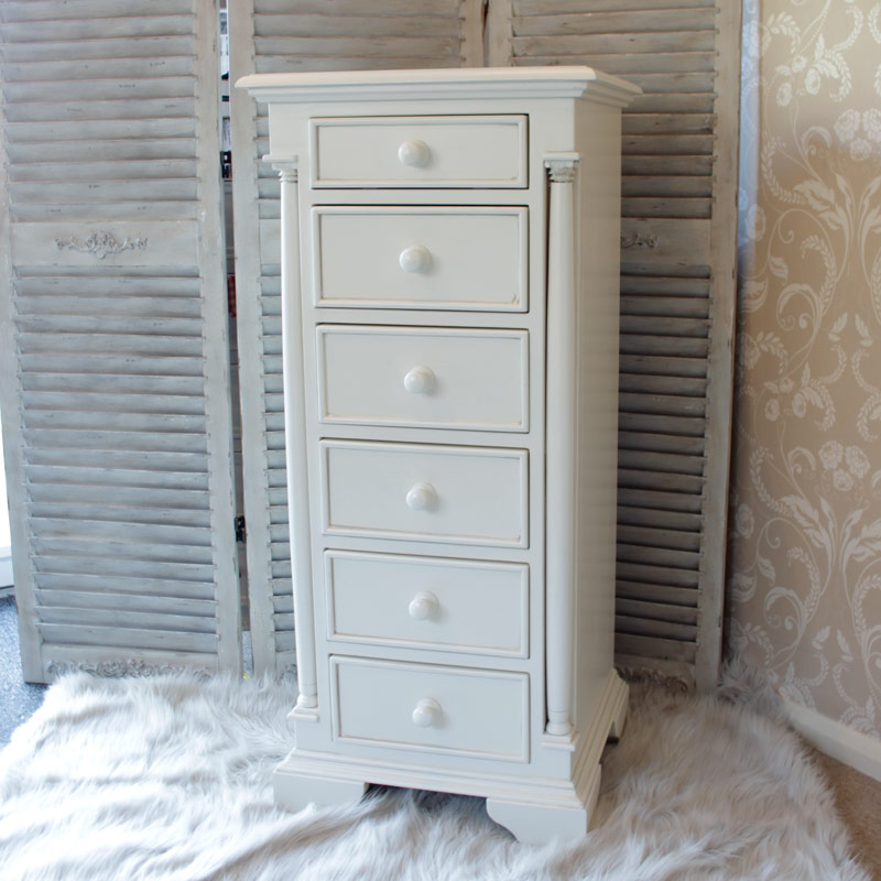 Canterbury Range - Cream Wooden 6 Drawer Tallboy Chest