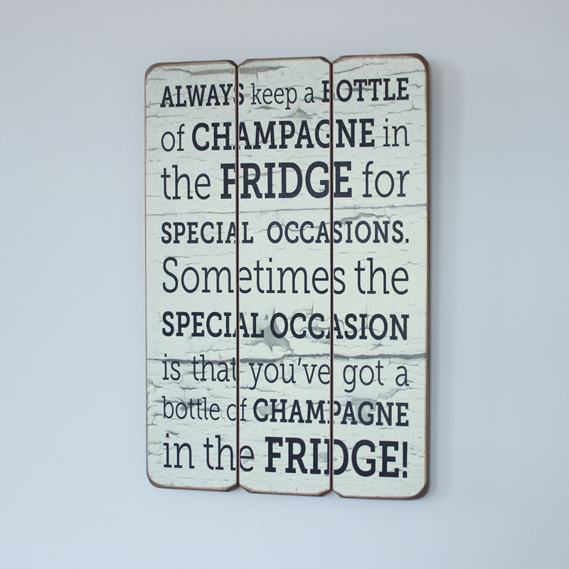 'Champagne in the Fridge' Wall Plaque