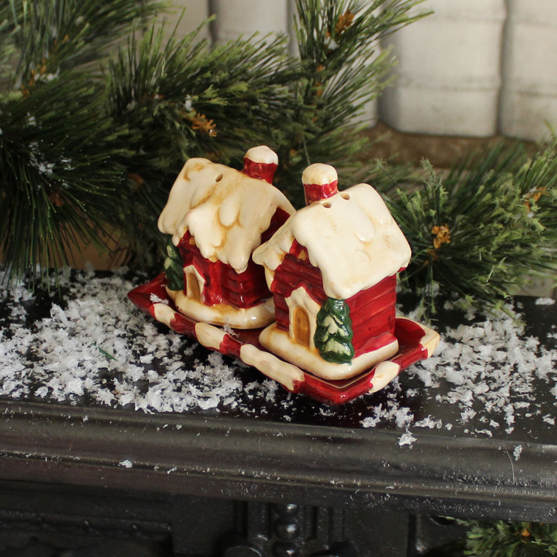 Christmas Cottage Salt & Pepper Cruet Set