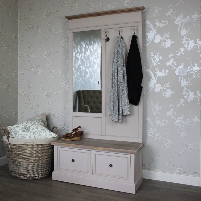 Coat Rack Bench with Mirror - Cotswold Range