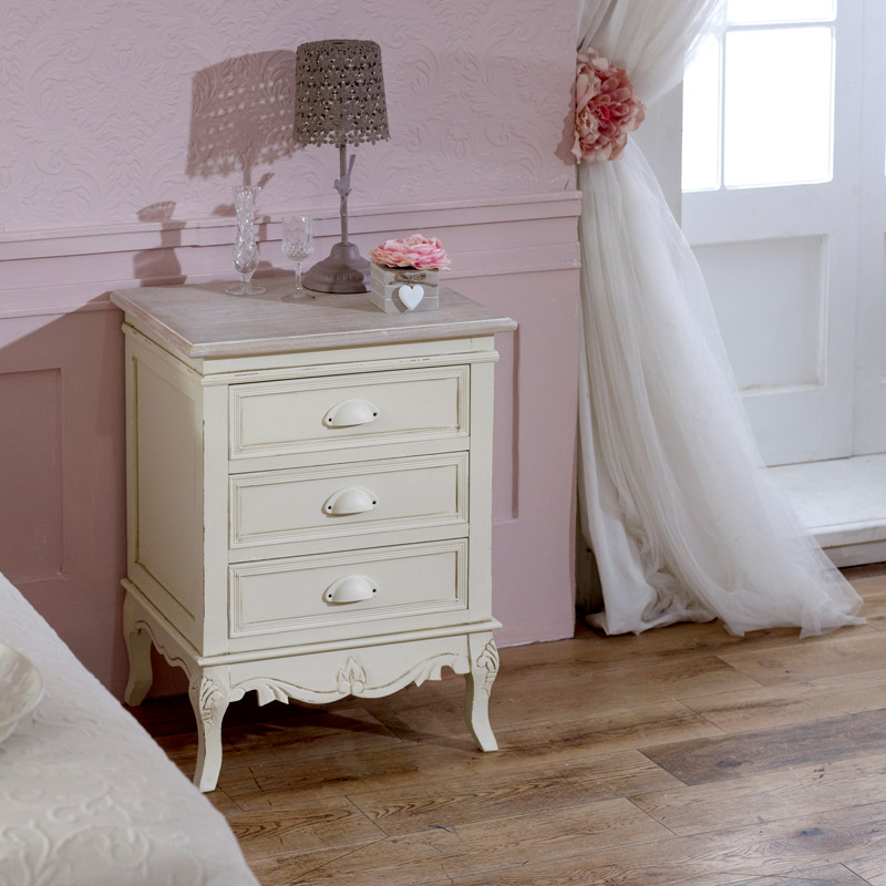 Cream Bedside Table Drawers Distressed Carved French Country Painted Shabby C