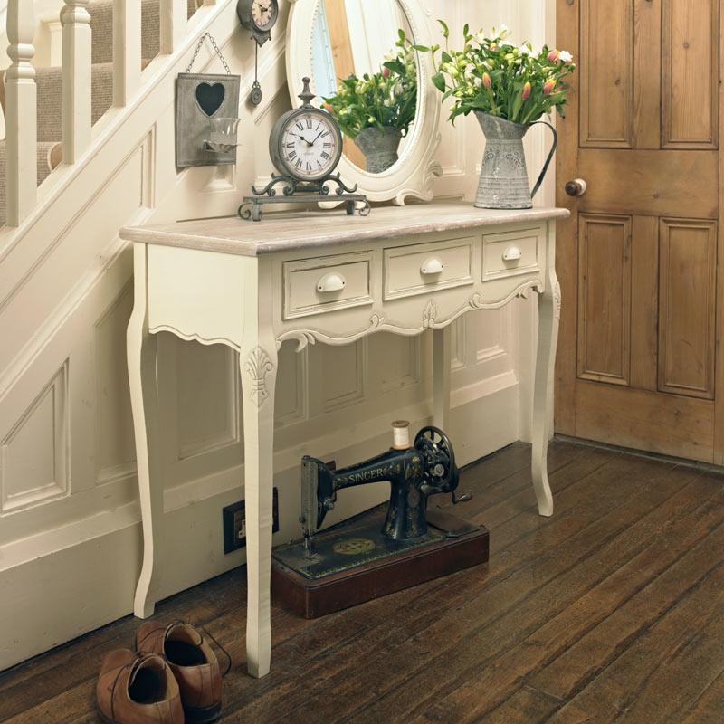 Country Ash Range - 3 Drawer Console Table