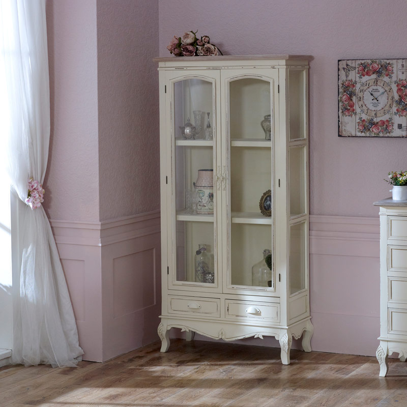 Cream Glass Display Cabinet with Drawers - Country Ash Range