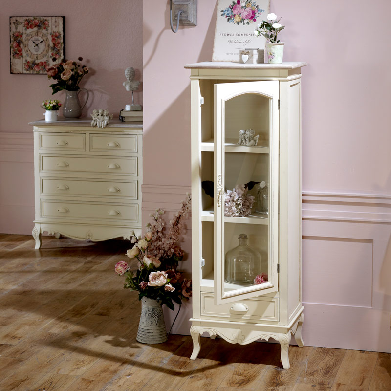 Country Ash Range - Cream Glazed Display Cabinet