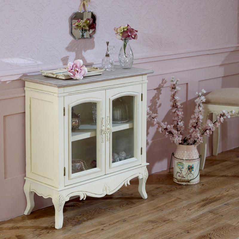Cream Glazed Unit Low Display Cabinet - Country Ash Range