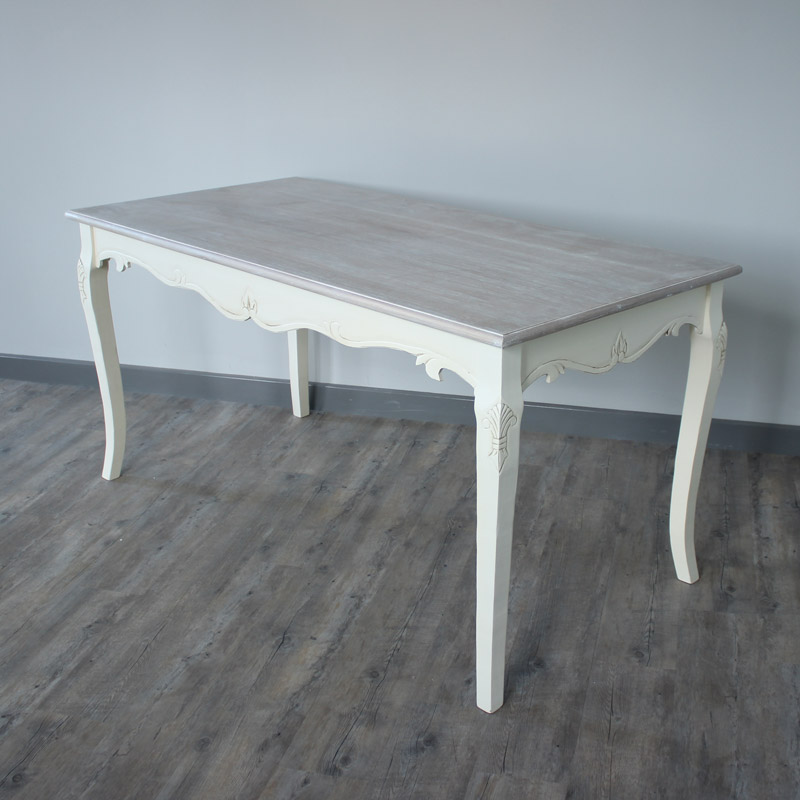 Cream dining table pained legs wodden top french country