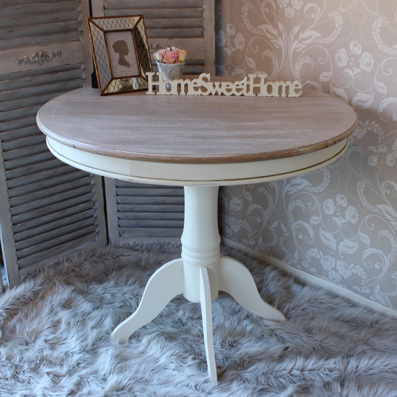 Large round cream wood dining table shabby french chic kitchen dining furniture ebay Cream wooden furniture