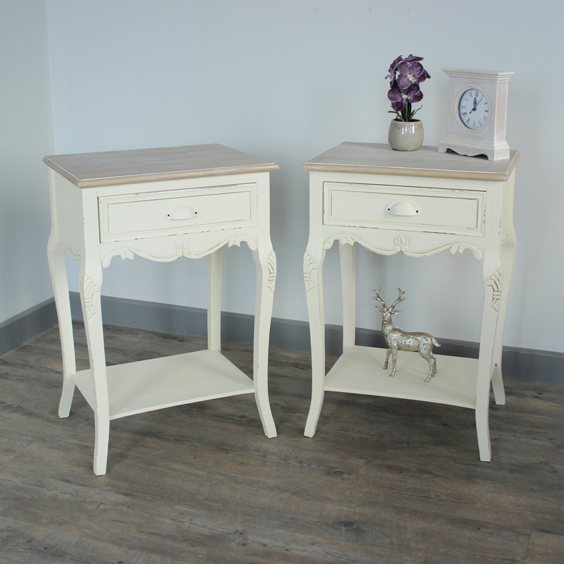 Pair Of Cream Wood Bedside Lamp Tables Shabby French Chic Bedroom Furniture S