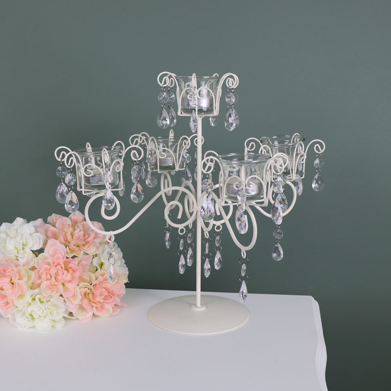 Cream 5 Arm Tea light Holder Candelabra