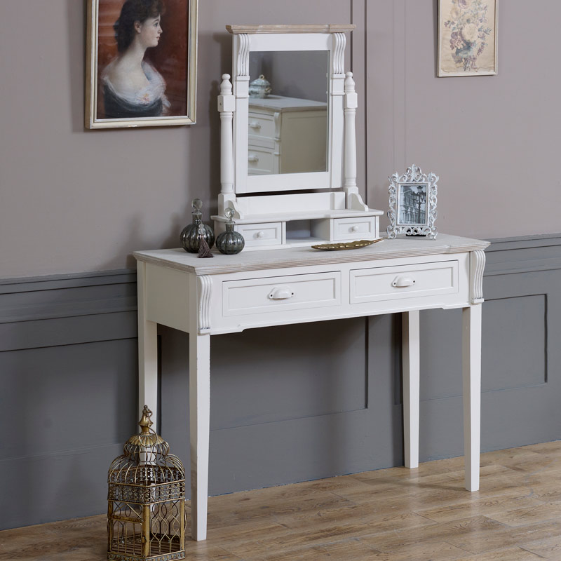 Cream Dressing Table and Mirror Set - Lyon Range