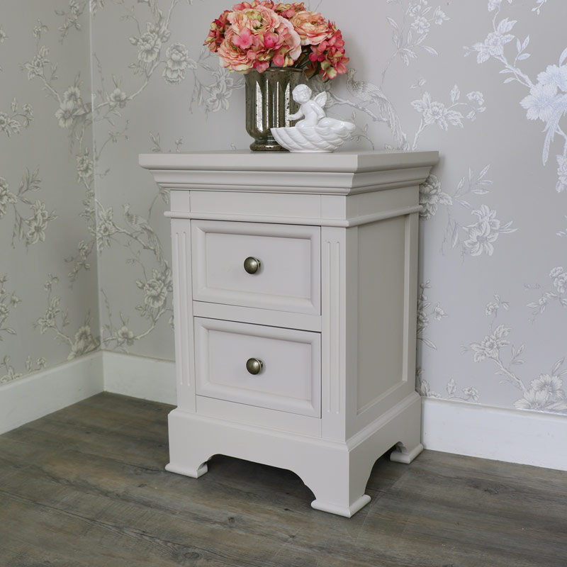 Two Drawer Bedside Table - Daventry Grey Range