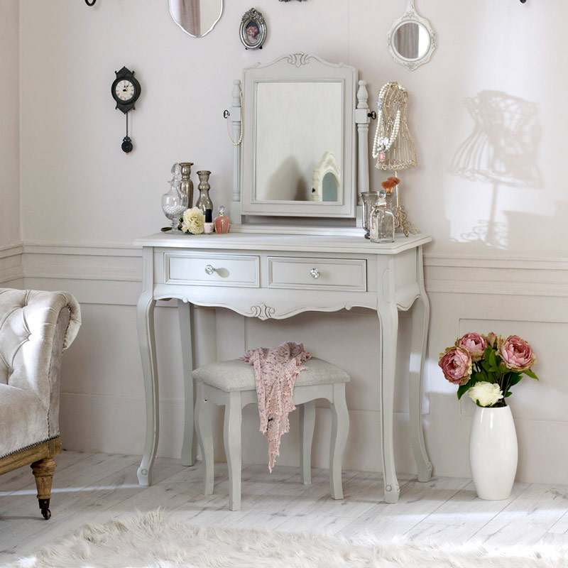French Grey Dressing Table Mirror Stool Bedroom Furniture