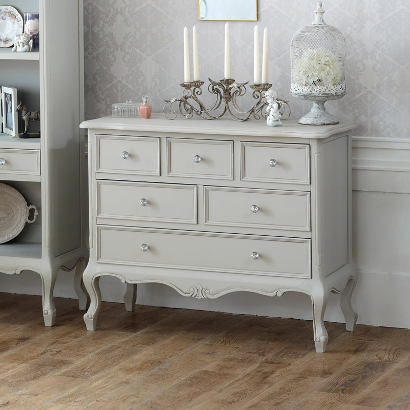 Elise Grey Range - Large 6 Drawer Chest of Drawers