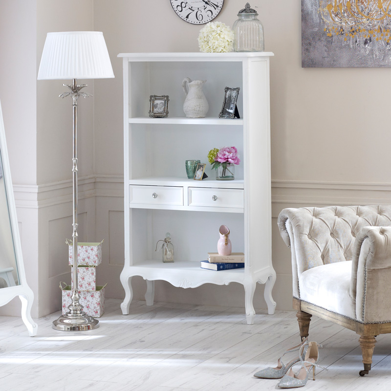 White Bookcase with Drawers - Elise White Range