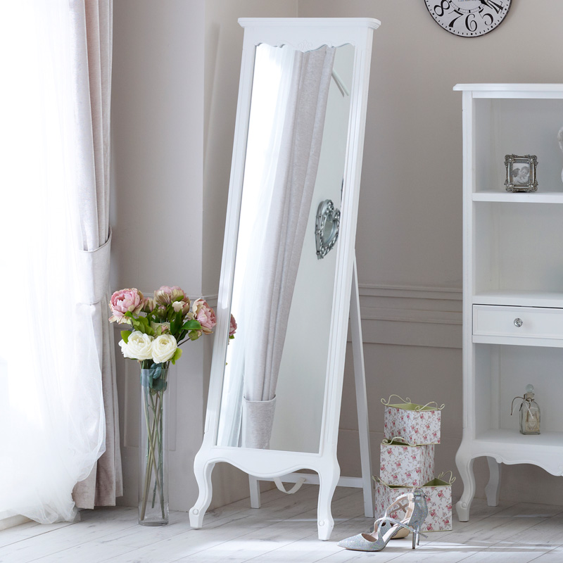 Tall Ornate Free Standing Cheval Mirror - Elise White Range 50cm x 168cm