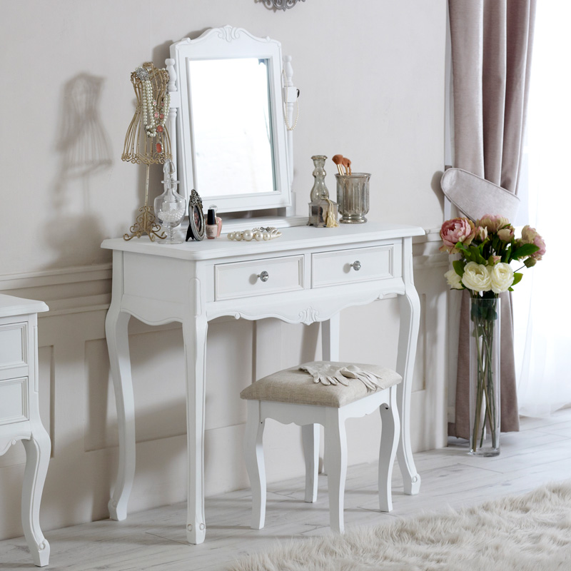 White dressing table mirror stool shabby ornate chic for French white dressing table