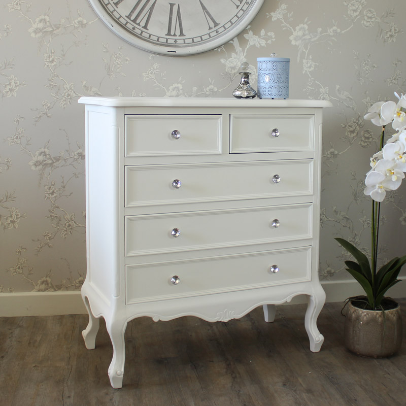 White Wood Five Drawer Chest Of Drawers Shabby Vintage Chic Bedroom Furniture