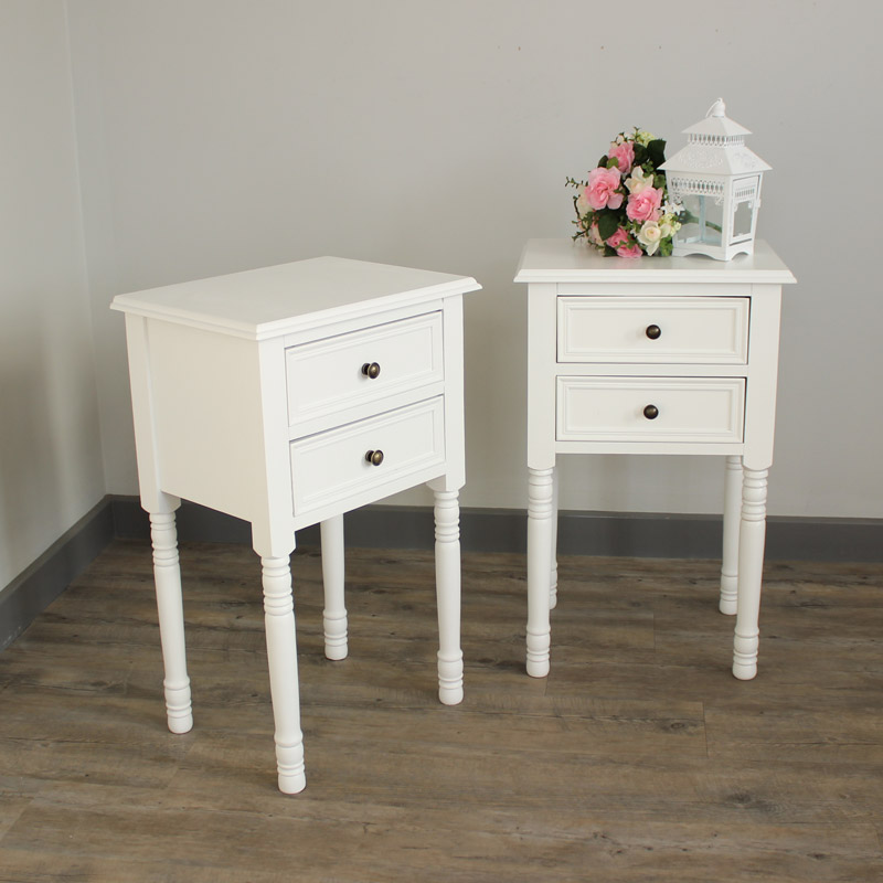 Eliza White Range - Furniture Bundle, Pair of Two Drawer Bedside Table