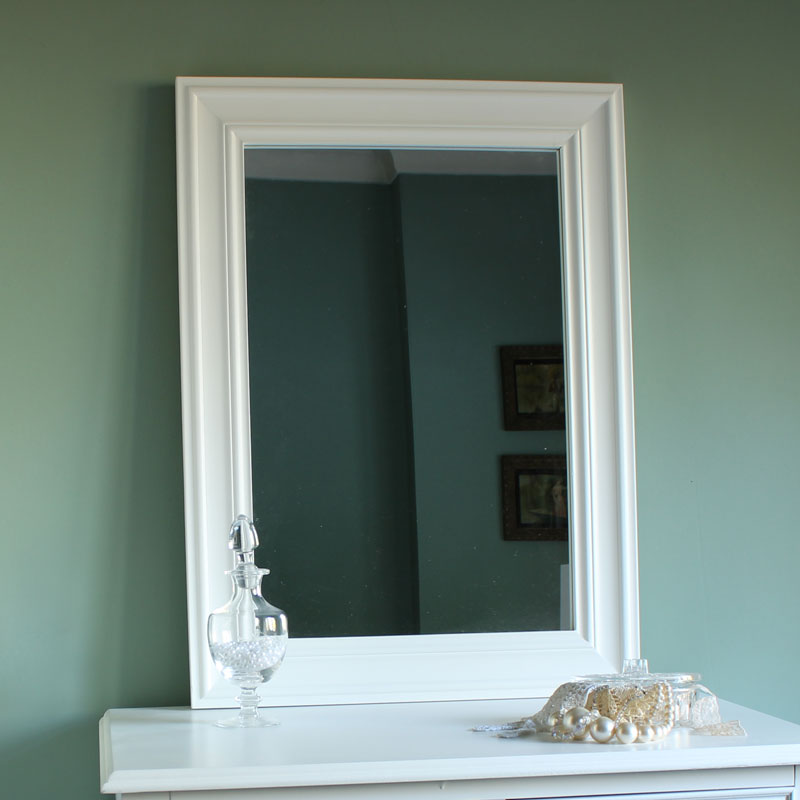 White wooden simple wall mounted mirror vintage style classic bedroom hallway ebay - Bedroom wall mirrors ...