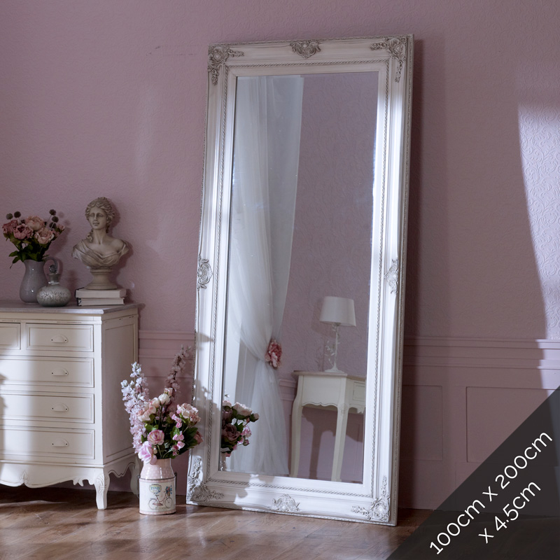 Extra, Extra Large Ornate Aged Cream Wall/Floor Mirror