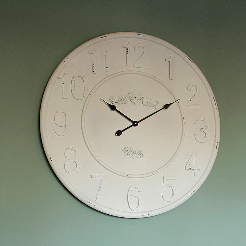 Extra Large Wooden Ivory Wall Clock Living Room French Country Rustic Distres