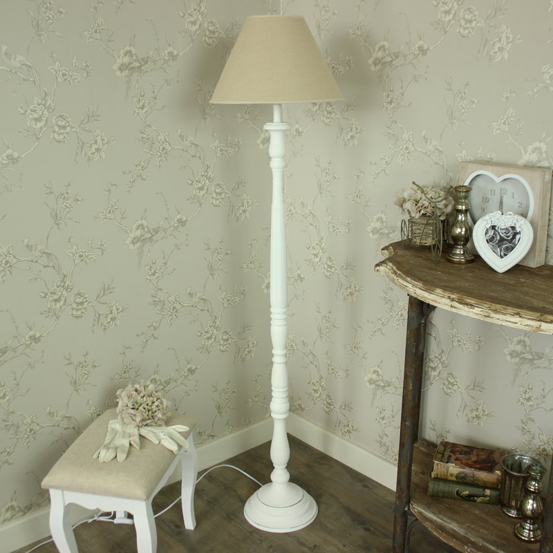 Floor Standing Lamp - White Lamp with Shade