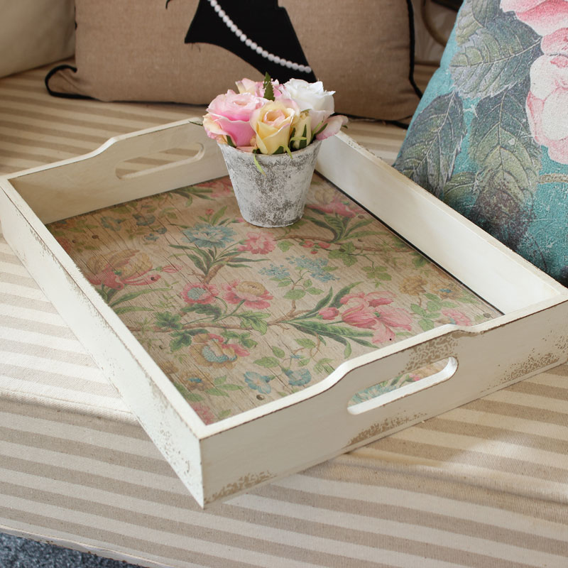 Floral Wooden Tray with Handles